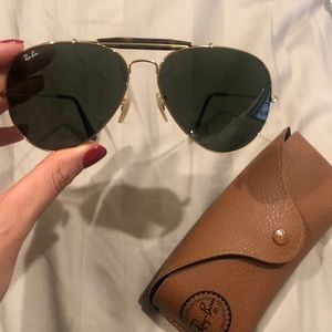 54 mm ray ban aviators with tortoise detailing.